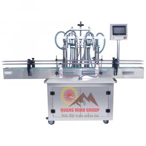 Máy chiết rót dịch lỏng 2~12 đầu PISTON tự động QM-HZGY1000-4D
