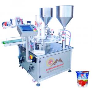 Máy chiết và dán hũ sữa chua có hạt lựu (Chiết 2 nguyên liệu) QM-CRDH04