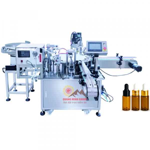 Máy chiết và siết nắp chai Tinh dầu 3 in 1 tự động dạng xoay QM-GCFC-3in1-Series