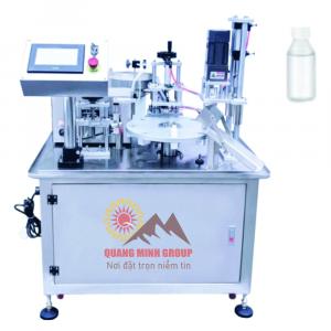 Máy chiết và siết nắp chai nhỏ 3 in 1 tự động dạng xoay QM-MCSN01