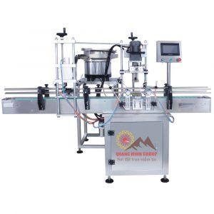 Máy cấp nắp và siết nắp dạng thẳng 4 bánh xoay tự động QM-SCM-4WH