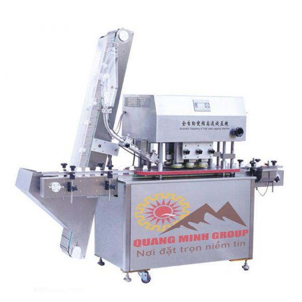 Máy đóng nắp quay chai tự động cho chai nhựa hoặc thủy tinh, có nắp vặn (ACM-1208)