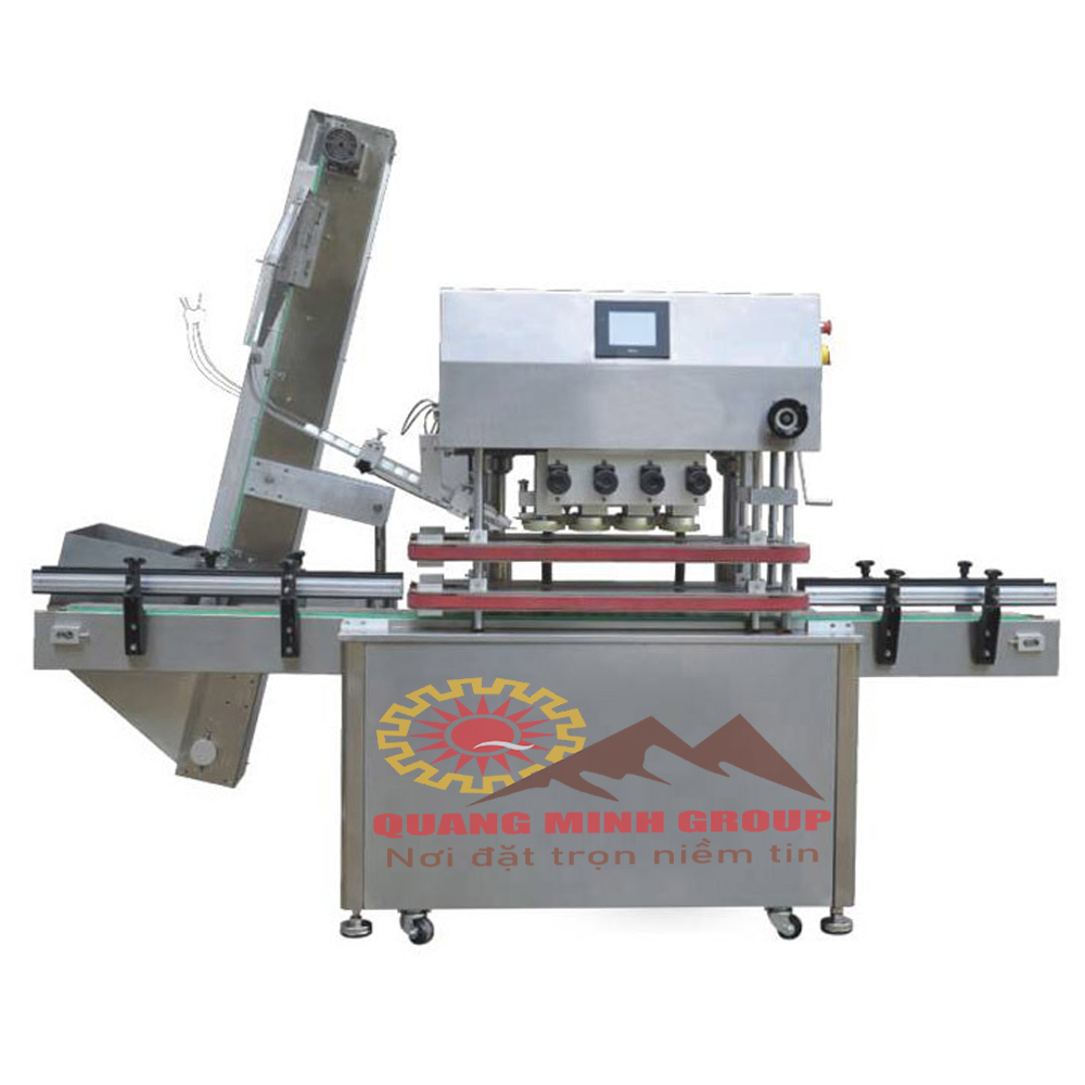 Máy đóng nắp quay chai tự động cho chai nhựa hoặc thủy tinh, có nắp vặn