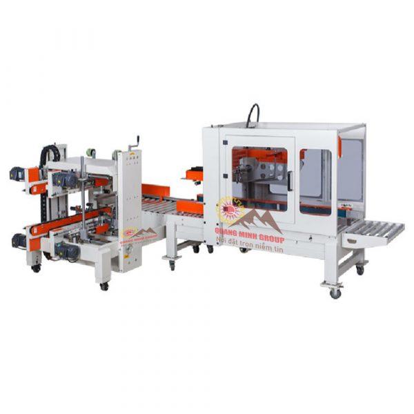 Máy gập thùng và dán băng keo 2 cạnh thùng Carton tự động DQFXZ5050S+DQFXS7050