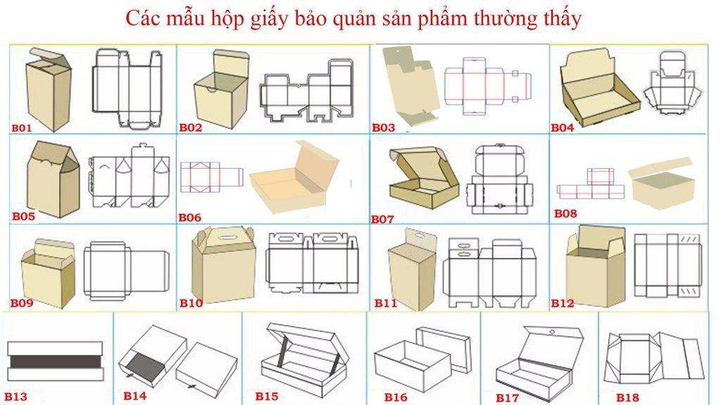 Các mẫu hộp giấy bảo quản sản phẩm thường thấy
